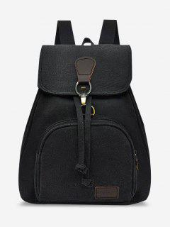 Canvas Drawstring Large Capacity Casual Backpack - Black