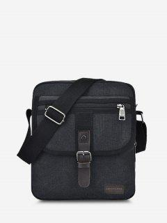 Wear-resistant Canvas Messenger Bag - Black