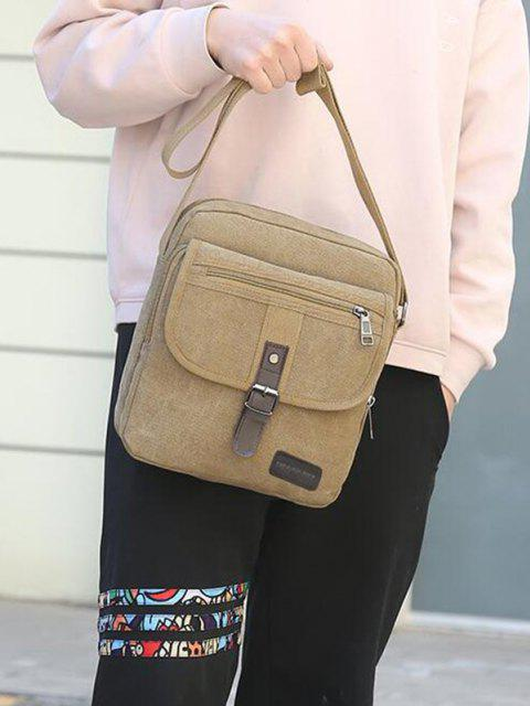 sale Wear-resistant Canvas Messenger Bag - LIGHT KHAKI  Mobile