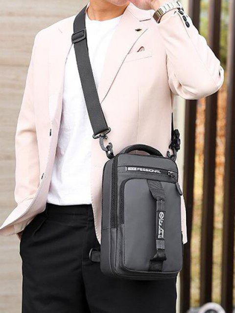 women's Letter Print USB Interface Shoulder Bag - GRAY GOOSE  Mobile