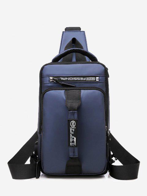 lady Letter Print USB Interface Shoulder Bag - DEEP BLUE  Mobile