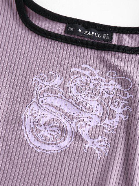 online ZAFUL Ribbed Dragon Print Chinoiserie Ringer Tank Top - PURPLE M Mobile