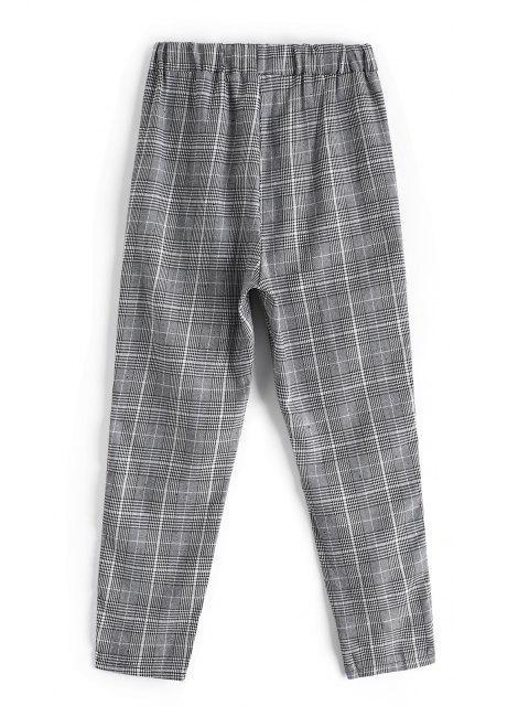 Pantaloni a Quadri a Contrasto a Strisce - Multi Colori-A M Mobile
