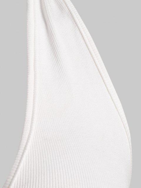 shops Halter Ribbed Frilled Crop Top - WHITE M Mobile