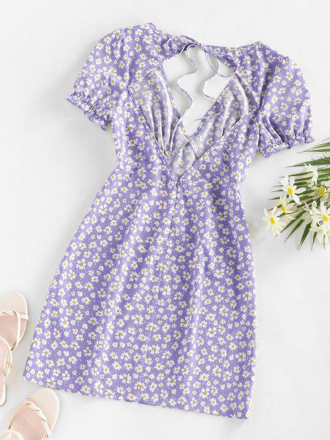 shops ZAFUL Daisy Floral Cutout Tie Slit Dress - LIGHT PURPLE XL Mobile