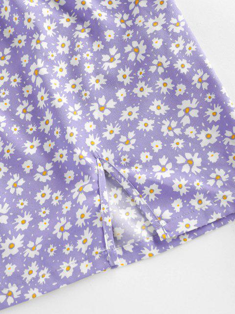 chic ZAFUL Daisy Floral Cutout Tie Slit Dress - LIGHT PURPLE L Mobile