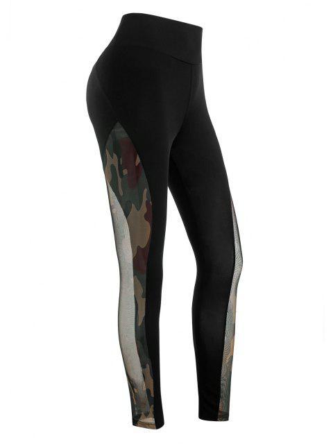 online Mesh Camouflage Sheer Scrunch Butt Leggings - BLACK L Mobile