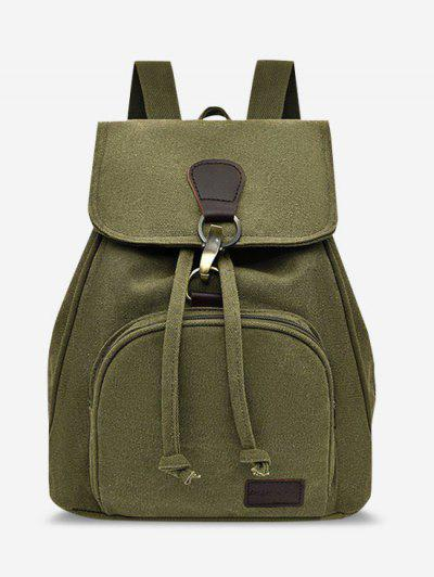 Canvas Drawstring Large Capacity Casual Backpack - Salad Green