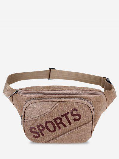 Letters Pattern Canvas Waist Bag - Coffee