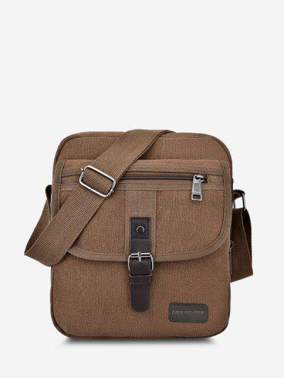 Wear-resistant Canvas Messenger Bag - Brown
