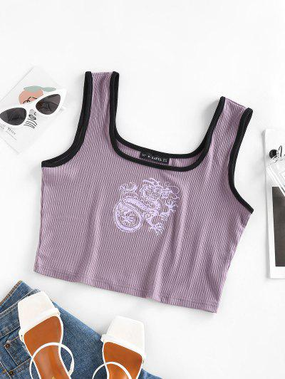 ZAFUL Ribbed Dragon Print Chinoiserie Ringer Tank Top - Purple M