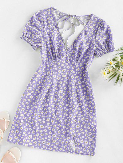 ZAFUL Daisy Floral Cutout Tie Slit Dress - Light Purple L
