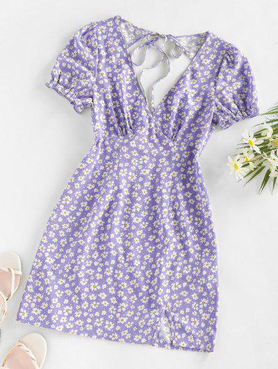 ZAFUL Daisy Floral Cutout Tie Slit Dress - Light Purple S