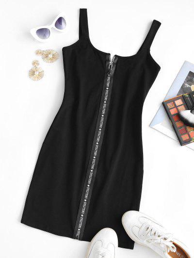Letter Print Zip Up Slinky Bodycon Tank Dress - Black L