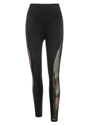 Mesh Camouflage Sheer Scrunch Butt Leggings - Black M