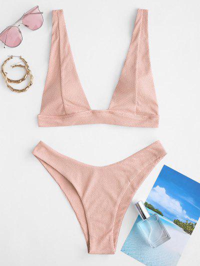 ZAFUL Textured Plunge High Cut Bikini Swimwear - Light Pink M