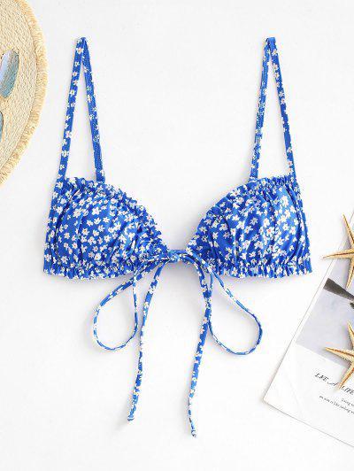 ZAFUL Haut De Bikini Fleuri Imprimé Noué En Avant à Volants - Bleu L