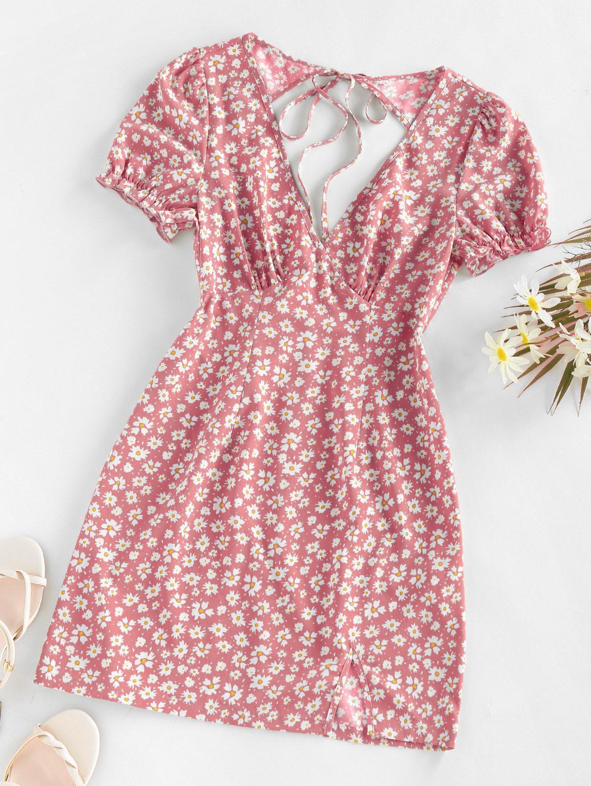ZAFUL Daisy Floral Cutout Tie Slit Dress