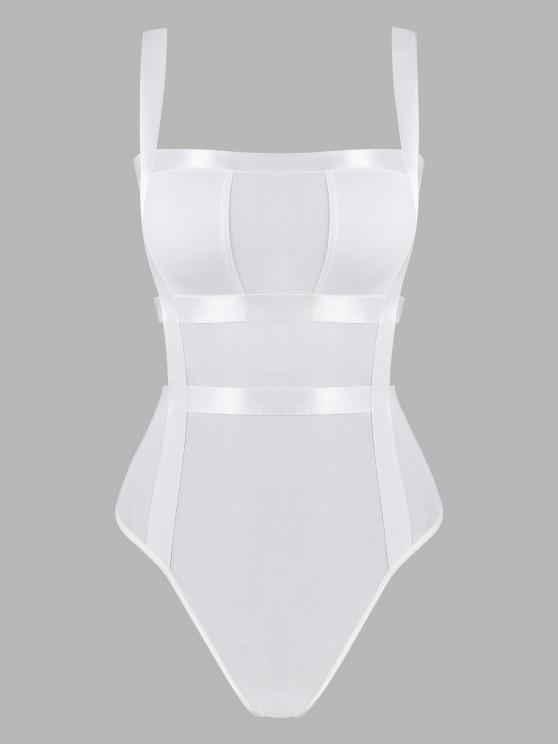 sale Mesh Ladder Cutout Bandage Bodysuit - WHITE M
