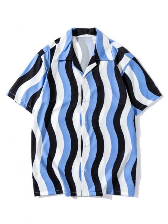 buy Wave Stripe Colorblock Short Sleeve Casual Shirt - DODGER BLUE L