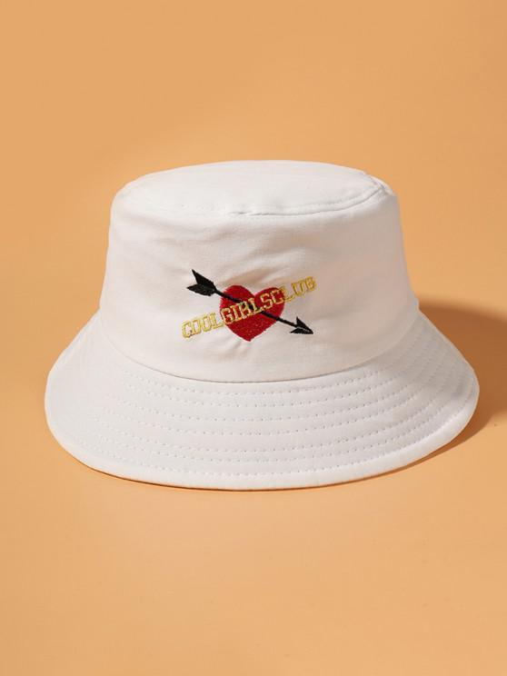 Grafik Herz Gestickter Bucket Hut - Weiß