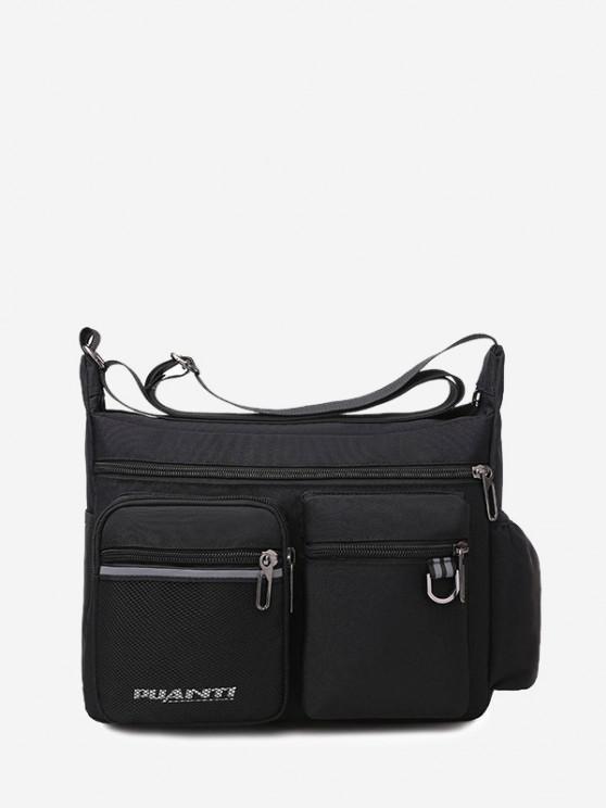 Pockets Waterproof Travel Shoulder Bag - أسود