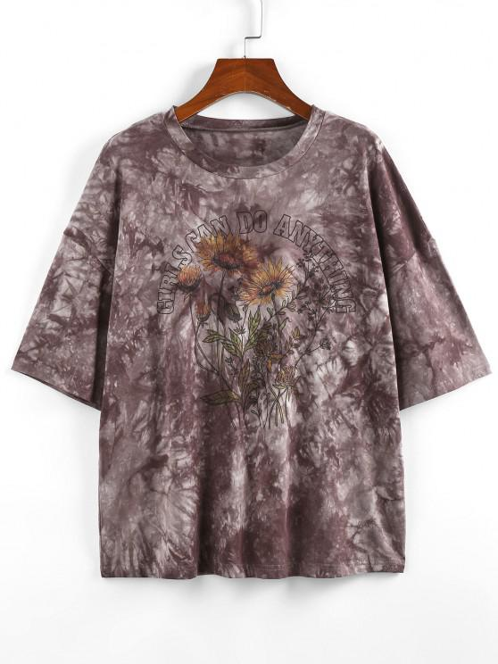 ladies ZAFUL Sunflower Slogan Tie Dye Drop Shoulder T-shirt - GRAY S