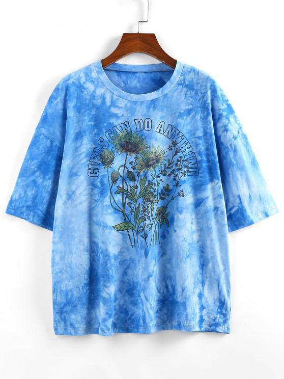 best ZAFUL Sunflower Slogan Tie Dye Drop Shoulder T-shirt - BLUE L