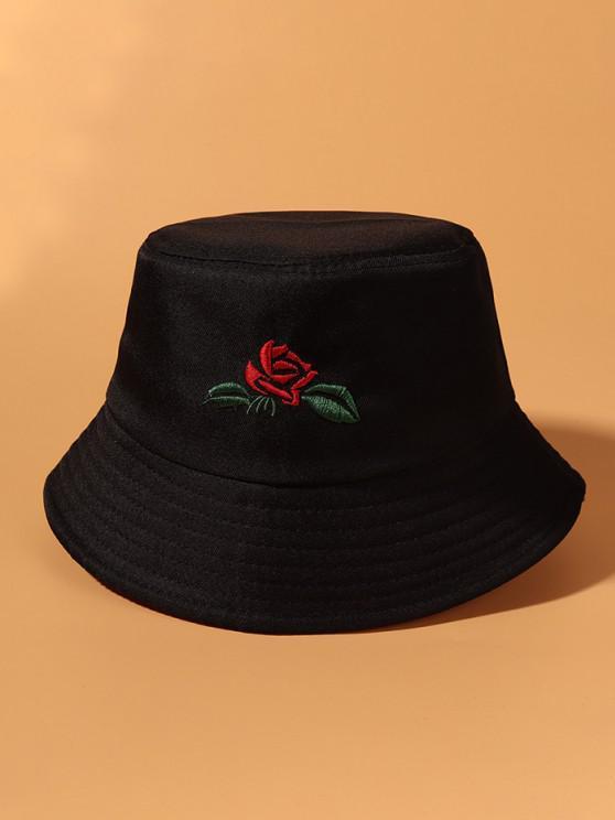 latest Rose Leaf Embroidered Bucket Hat - BLACK