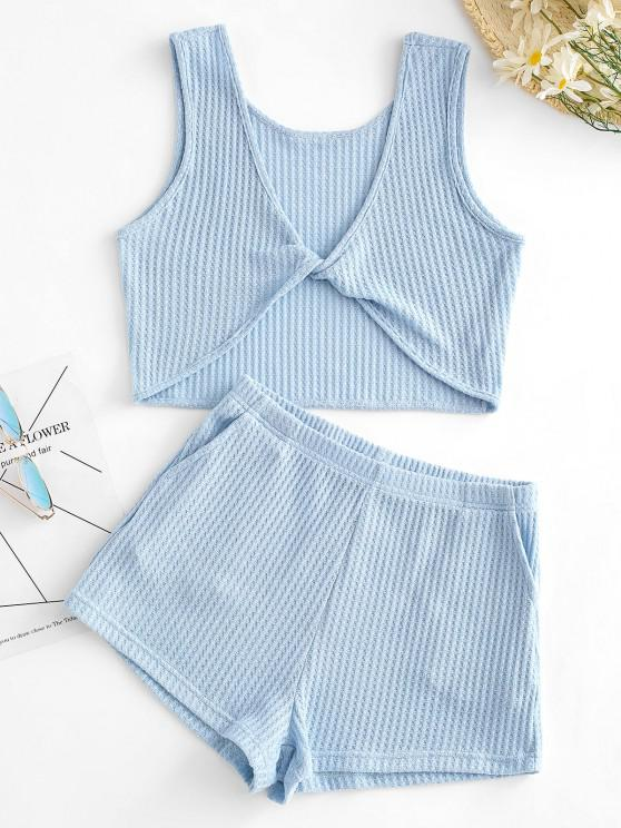 hot Knitted Twisted Pocket Shorts Set - BLUE S