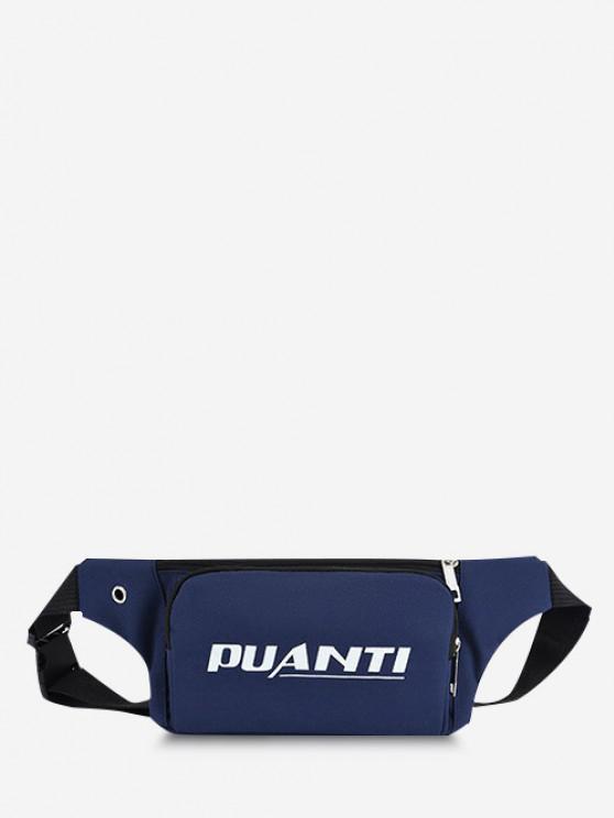 trendy Letter Printed Sports Waist Bag - DEEP BLUE
