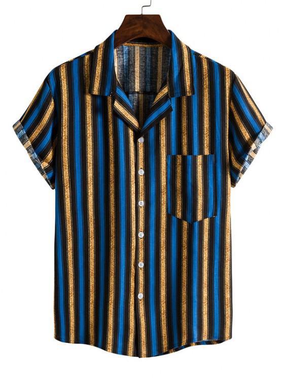 Camisa de Manga Curta com Listras em Contraste - Azul L