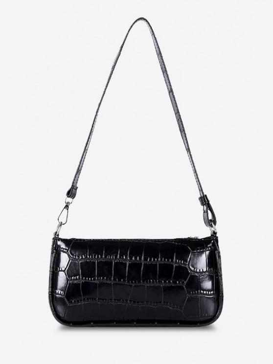 buy Minimalistic Embossed Rectangle Shoulder Bag - BLACK