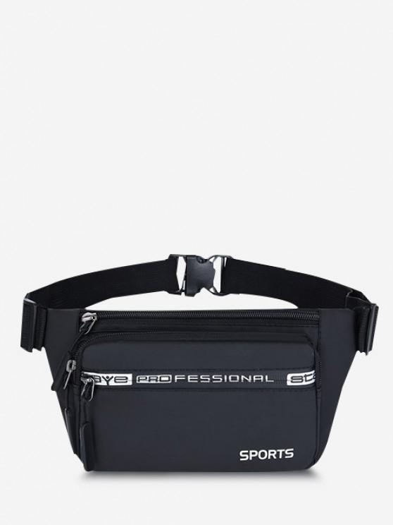 Letters Sports Waterproof Waist Bag - أسود