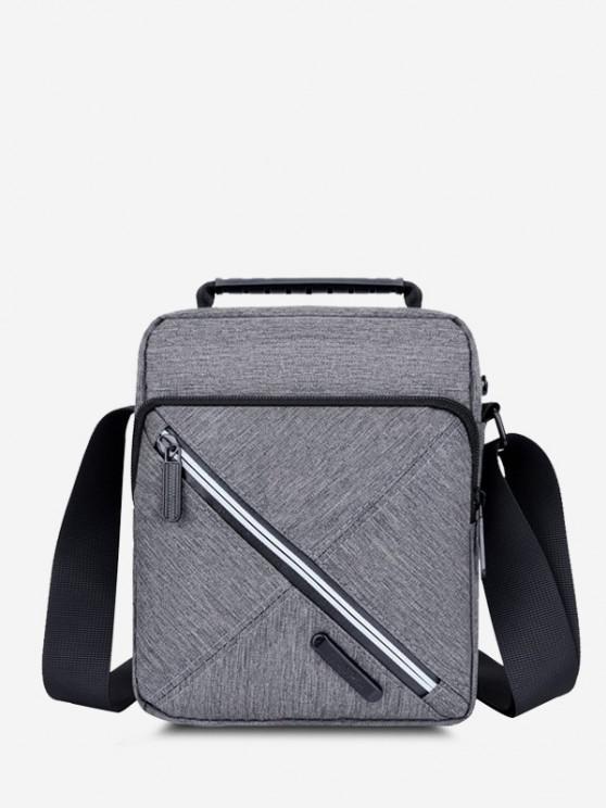affordable Contrast Zip Square Shoulder Bag - GRAY