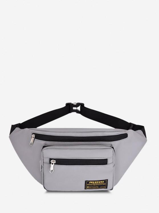 Letter Label Outdoor Waist Bag - اللون الرمادي