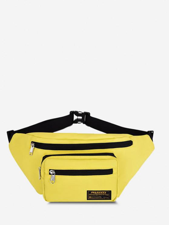 ladies Letter Label Outdoor Waist Bag - SUN YELLOW