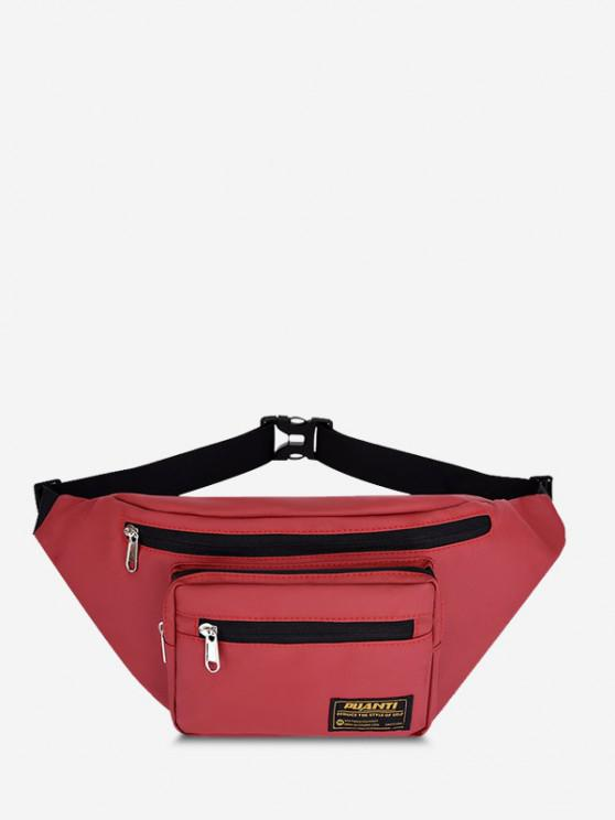lady Letter Label Outdoor Waist Bag - RED