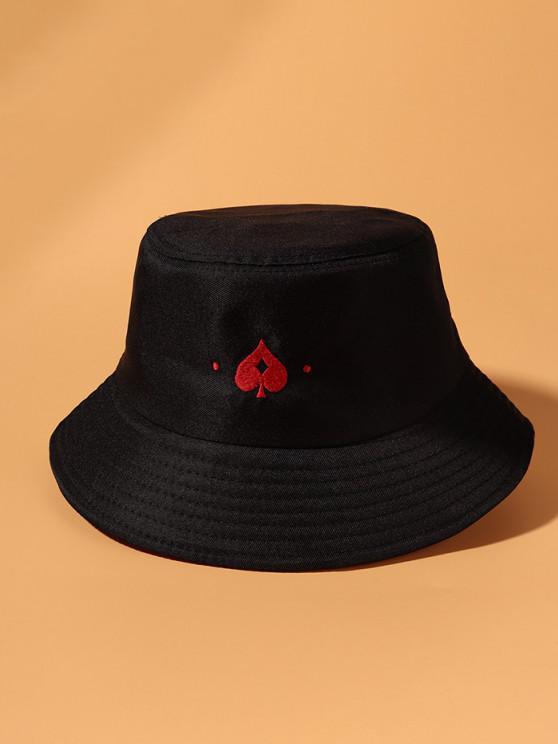 Lässige Gestickter Herz Bucket Hut - Schwarz