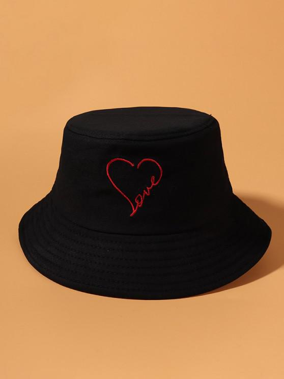 trendy Embroidery Heart Love Pattern Bucket Hat - BLACK
