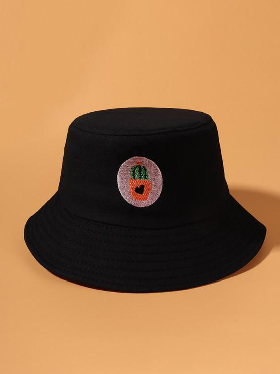 fashion Cactus Embroidered Bucket Hat - BLACK