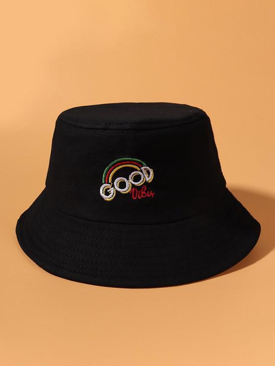 fancy Rainbow Letter Embroidery Bucket Hat - BLACK
