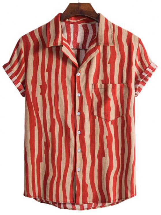 fancy Irregular Stripe Short Sleeve Shirt - RED M