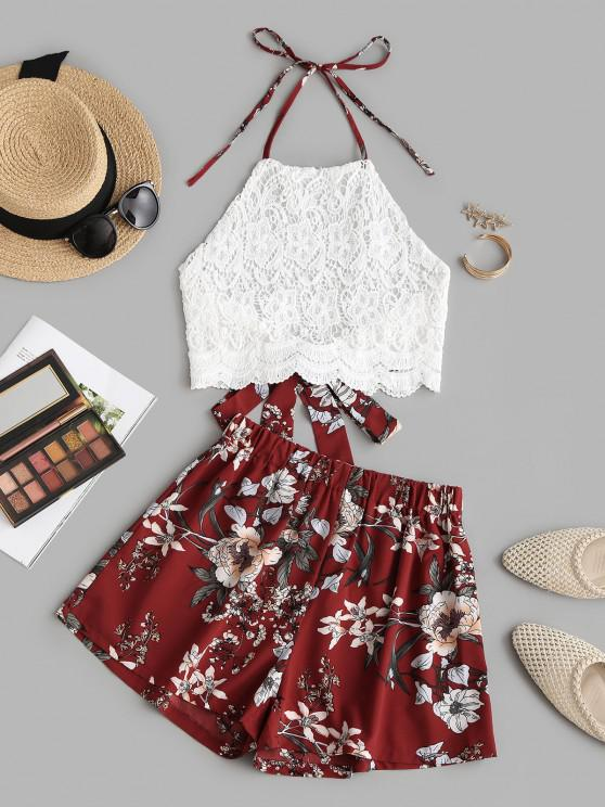 chic Halter Guipure Lace Top and Floral Shorts Set - RED L