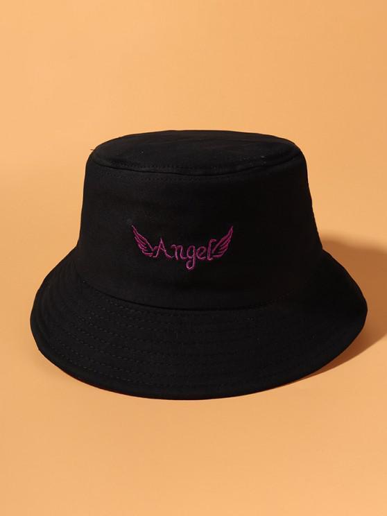 ladies Angel Wing Embroidered Bucket Hat - BLACK
