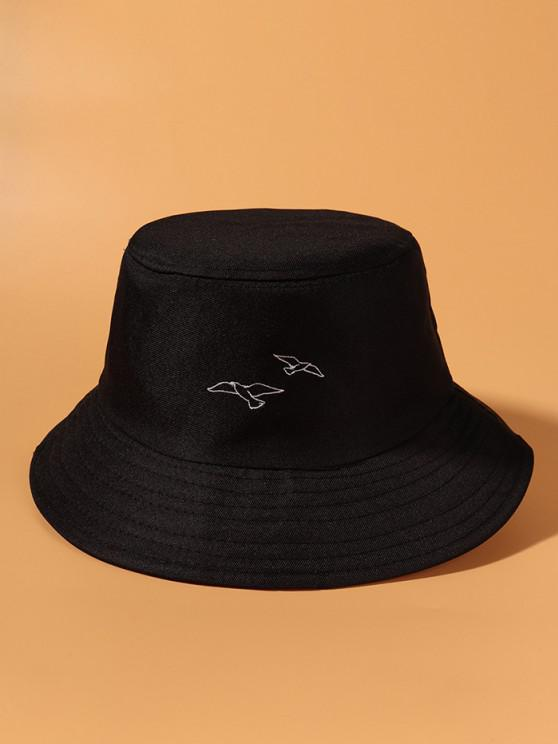 lady Pigeons Embroidered Bucket Hat - BLACK