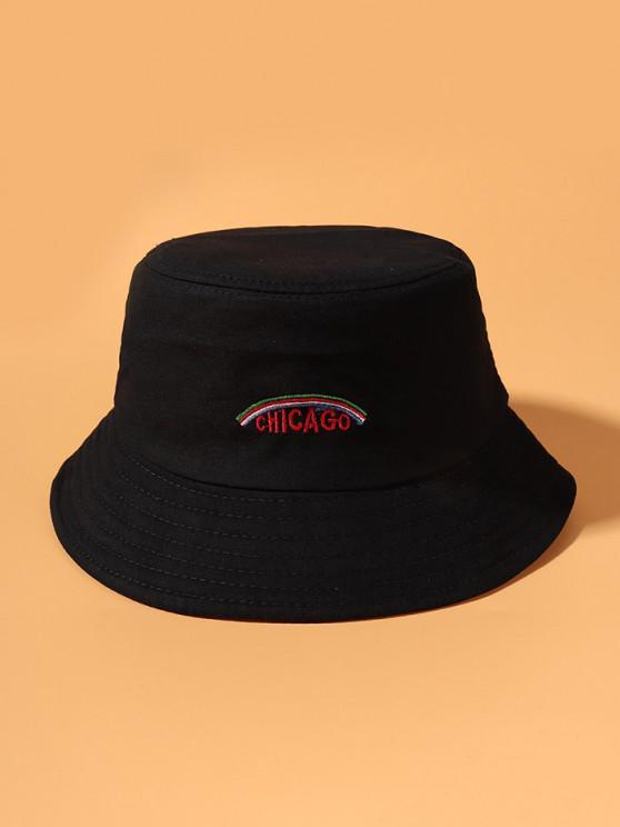 Cappello da Pescatore da Secchio con Ricamo Grafico a Arcobaleno - Nero