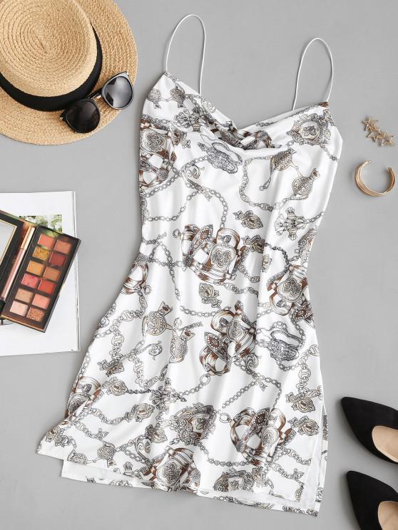 Baroque Chain Print Side Slit Cowl Neck Dress - متعدد XL