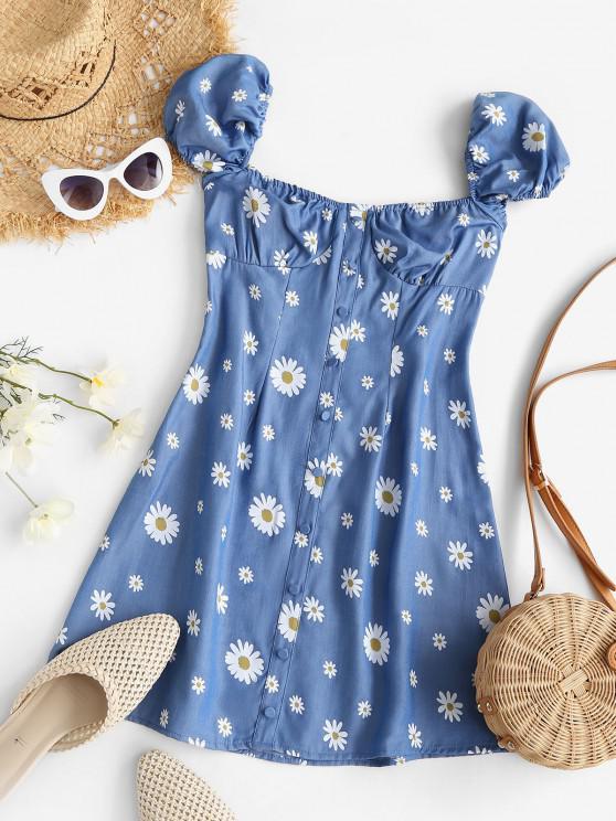 Vestido Manga Campana Estampado Chambragarita - Azul L