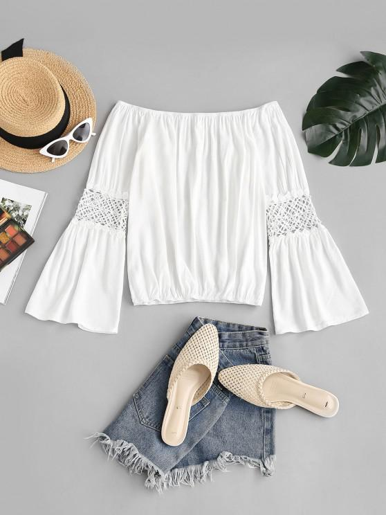 ladies Off The Shoulder Guipure Lace Panel Flare Sleeve Blouse - WHITE XL